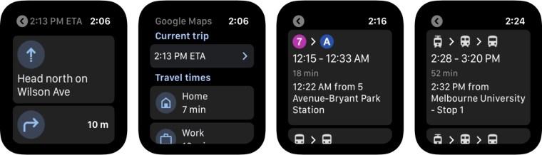 Google Maps on the Apple Watch (screenshot)