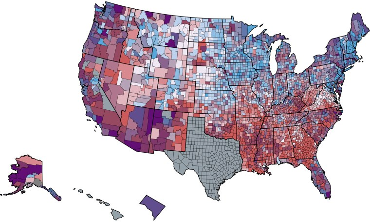 Screenshot of CDC Covid Data Tracker map showing county-level vaccination equity in the United States