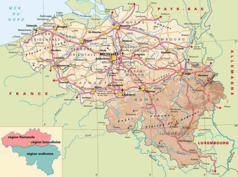 Maps of Belgium   Detailed map of Belgium in English   Tourist map     Physical map of Belgium with roads and cities and airports