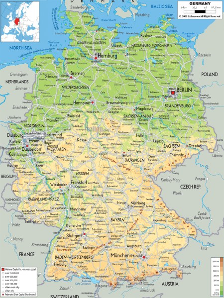 Maps of Germany   Detailed map of Germany in English   Tourist map     Detailed physical map of Germany with cities  roads and airports