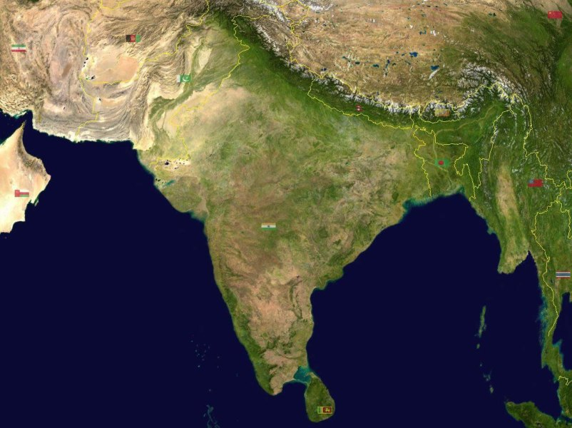 South asia India satellite map   Maps of India South asia India satellite map