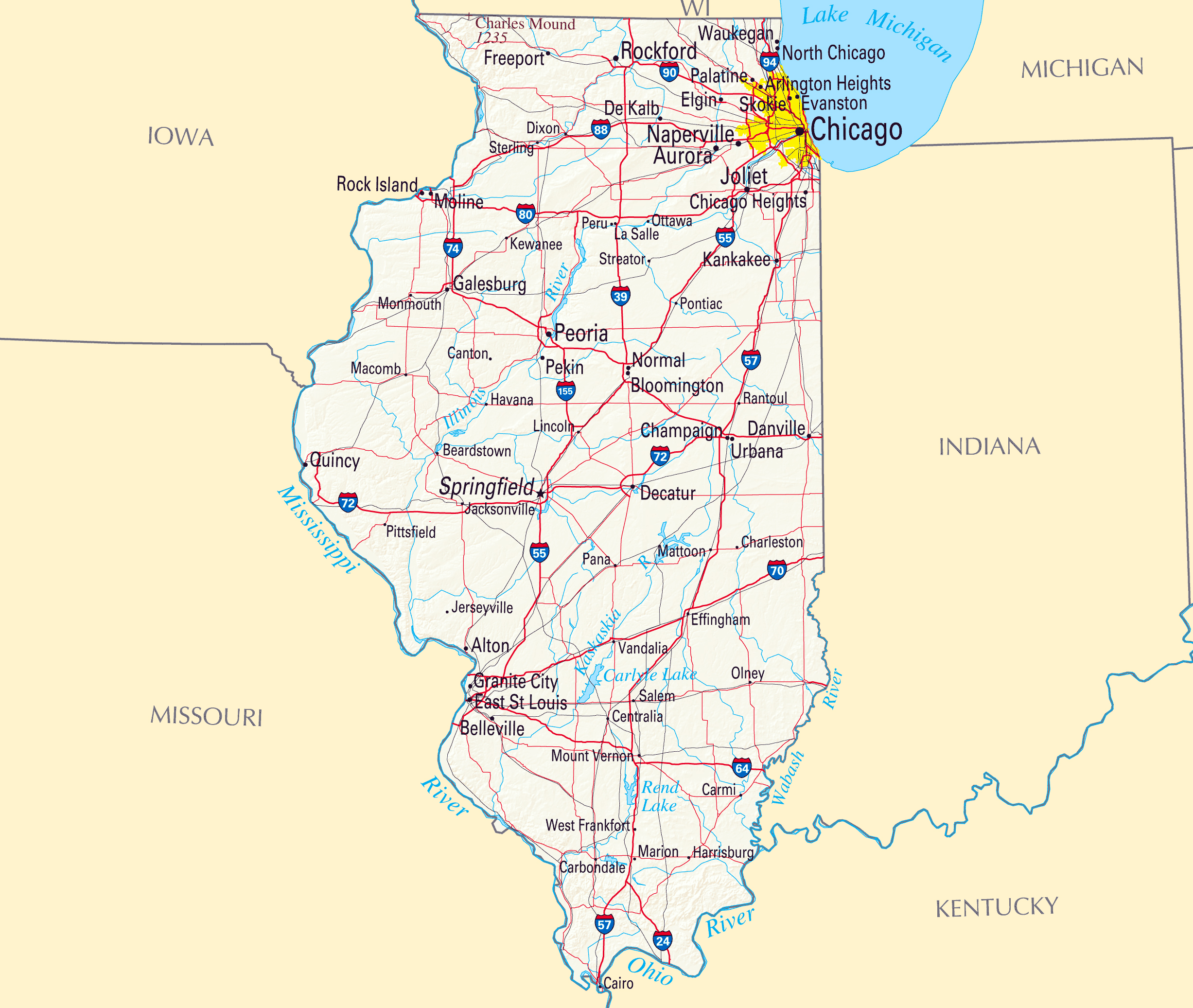 Large Map Of Illinois State With Roads Highways Relief