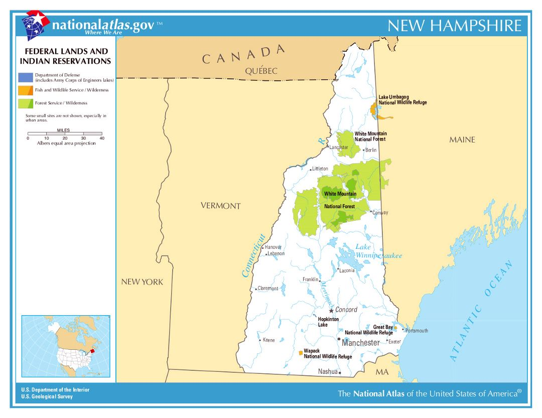 Large Map Of New Hampshire State Federal Lands And Indian