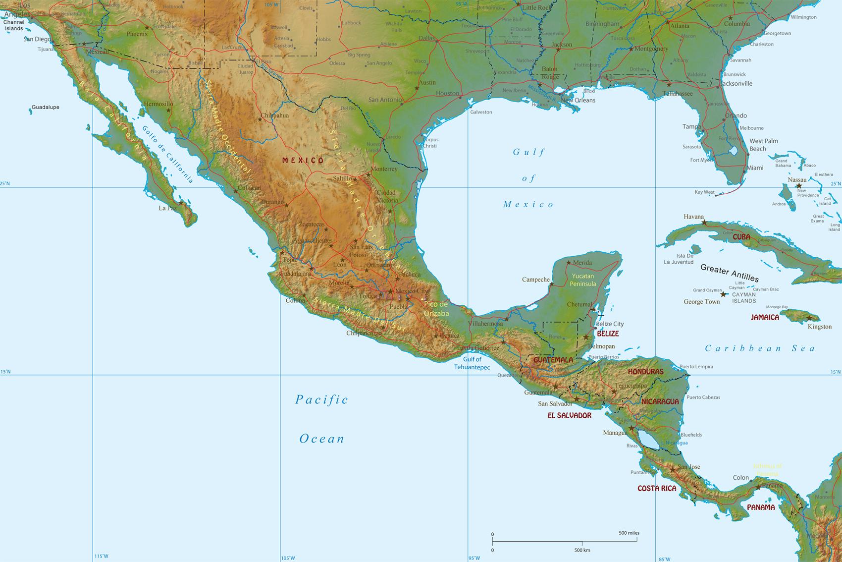 Mexiko Physik Karte