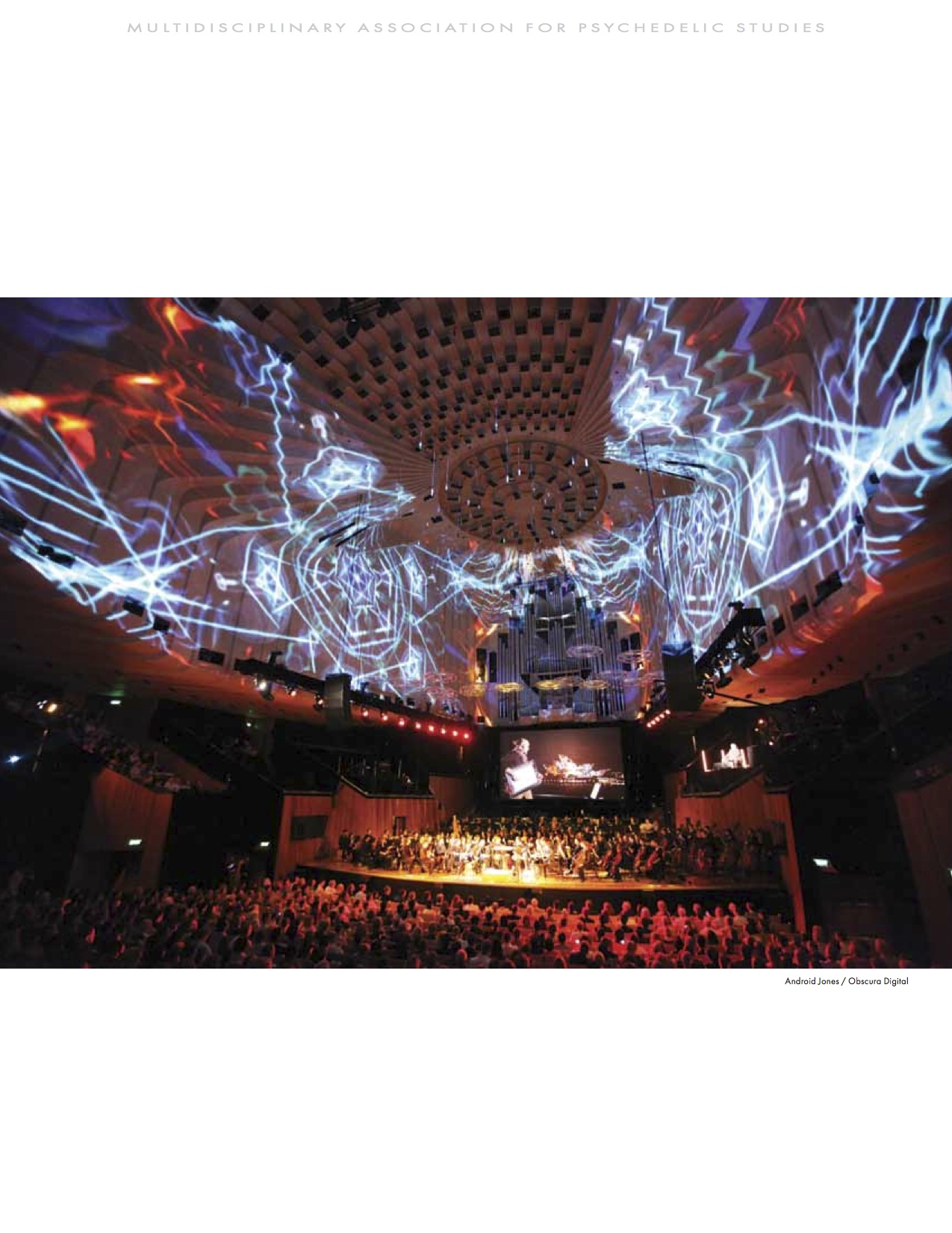 MAPS Bulletin Vol xxii No 1: Spring 2012 - Back Cover Image - Psychedelic Art - Digital Projection, Sydney Opera House (Interior) by Android Jones / Obscura Digital