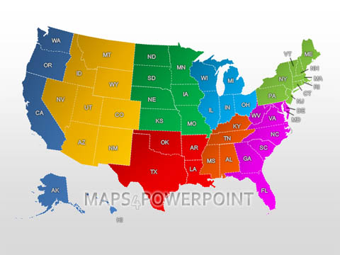 Powerpoint Us Map Template. editable map of united states with map ...