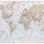 World Map Wall Art Large Neutral Art Prints