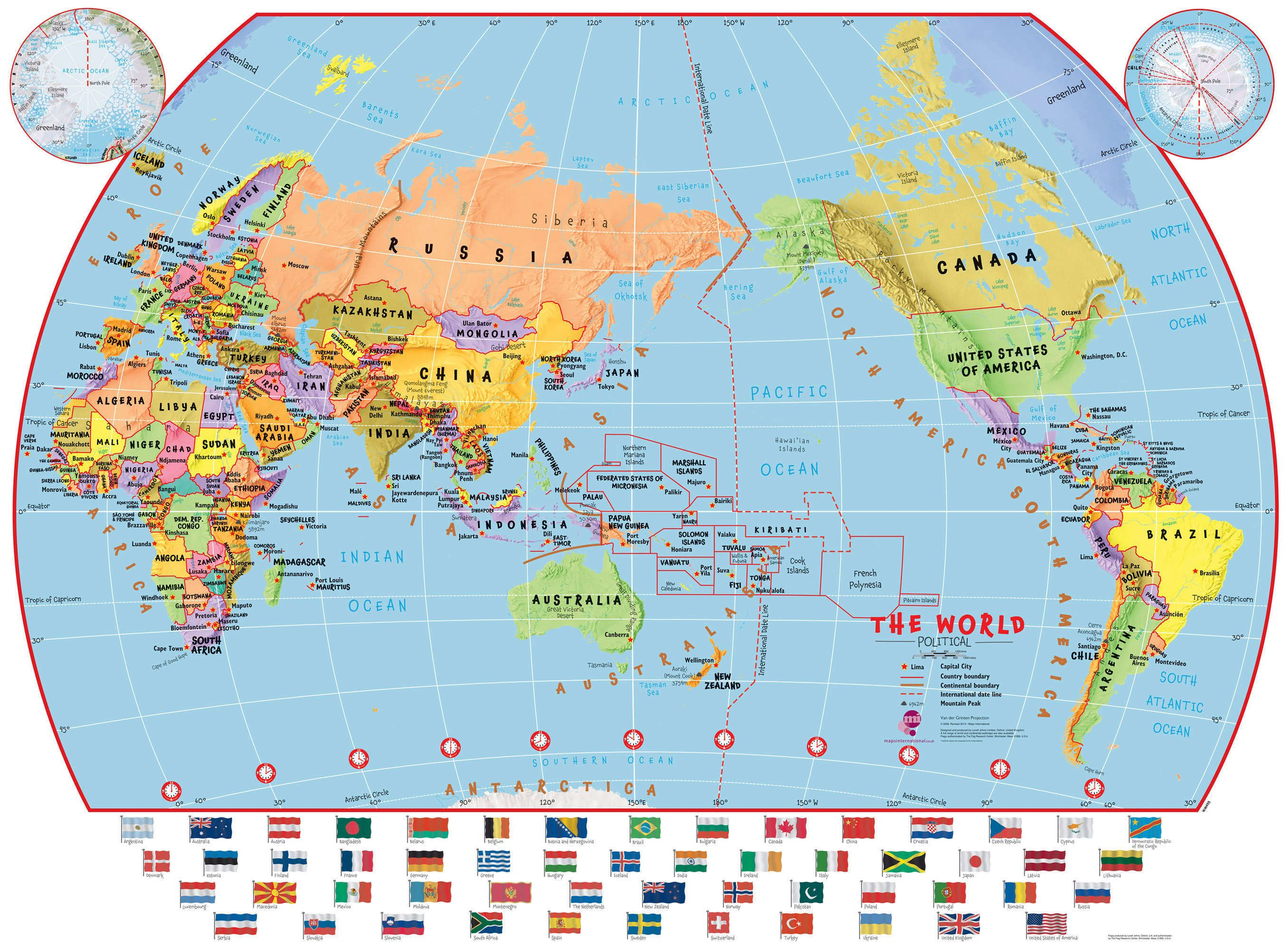Elementary School Pacific Centred Political World Wall Map