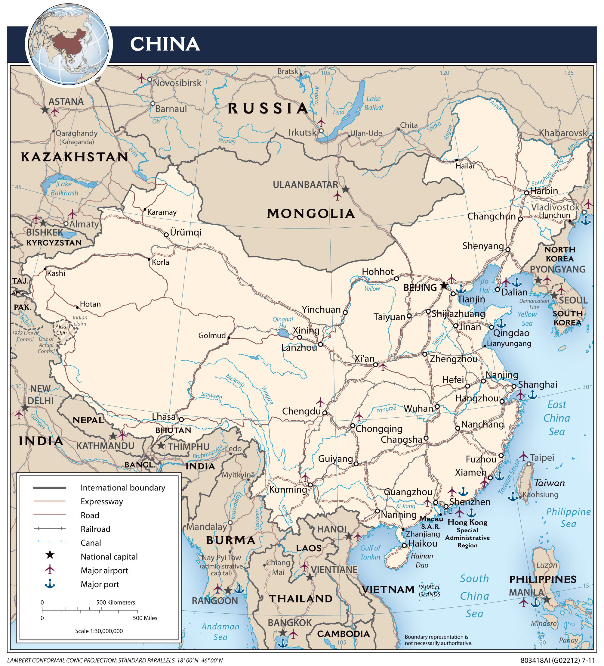 Large Detailed Political Map Of China With Roads