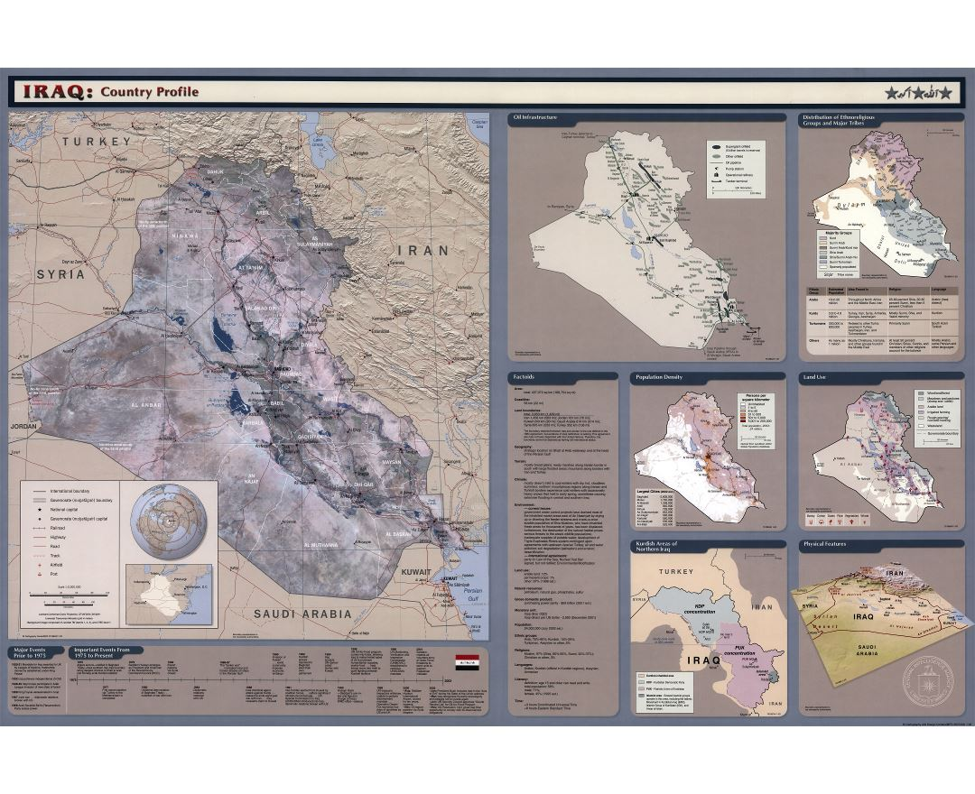 Maps of Iraq   Detailed map of Iraq in English   Tourist map  travel     Large scale country profile map of Iraq   2003