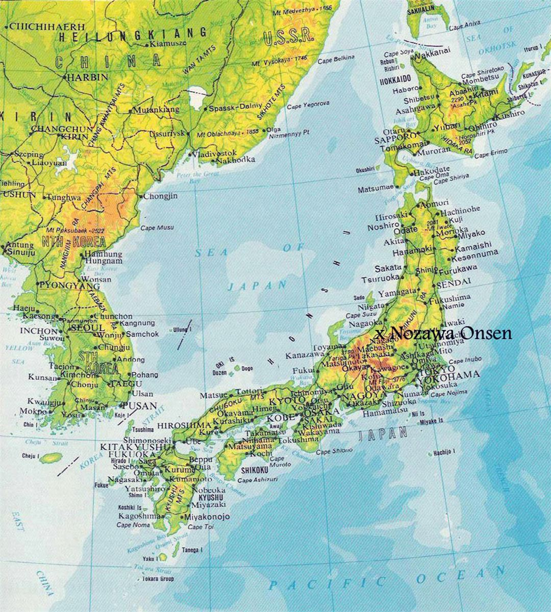 Elevation Map Of Japan With Roads And Cities