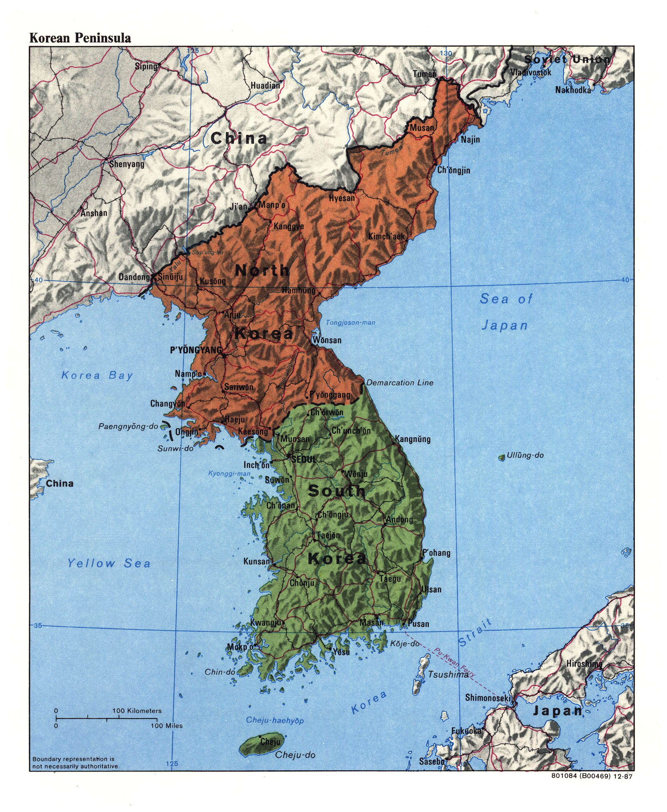Large Detailed Political Map Of Korean Peninsula With
