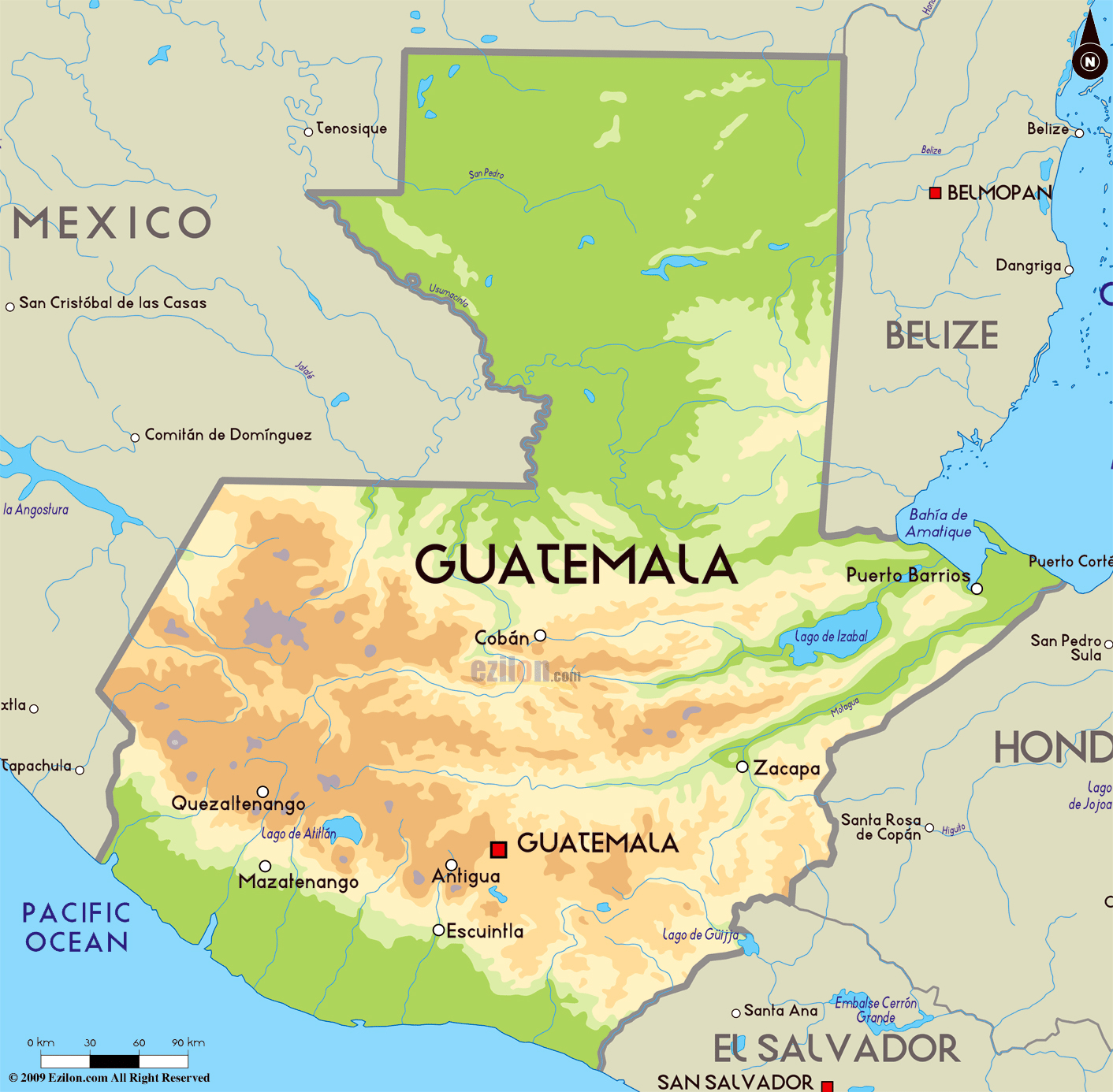 Large Physical Map Of Guatemala With Major Cities