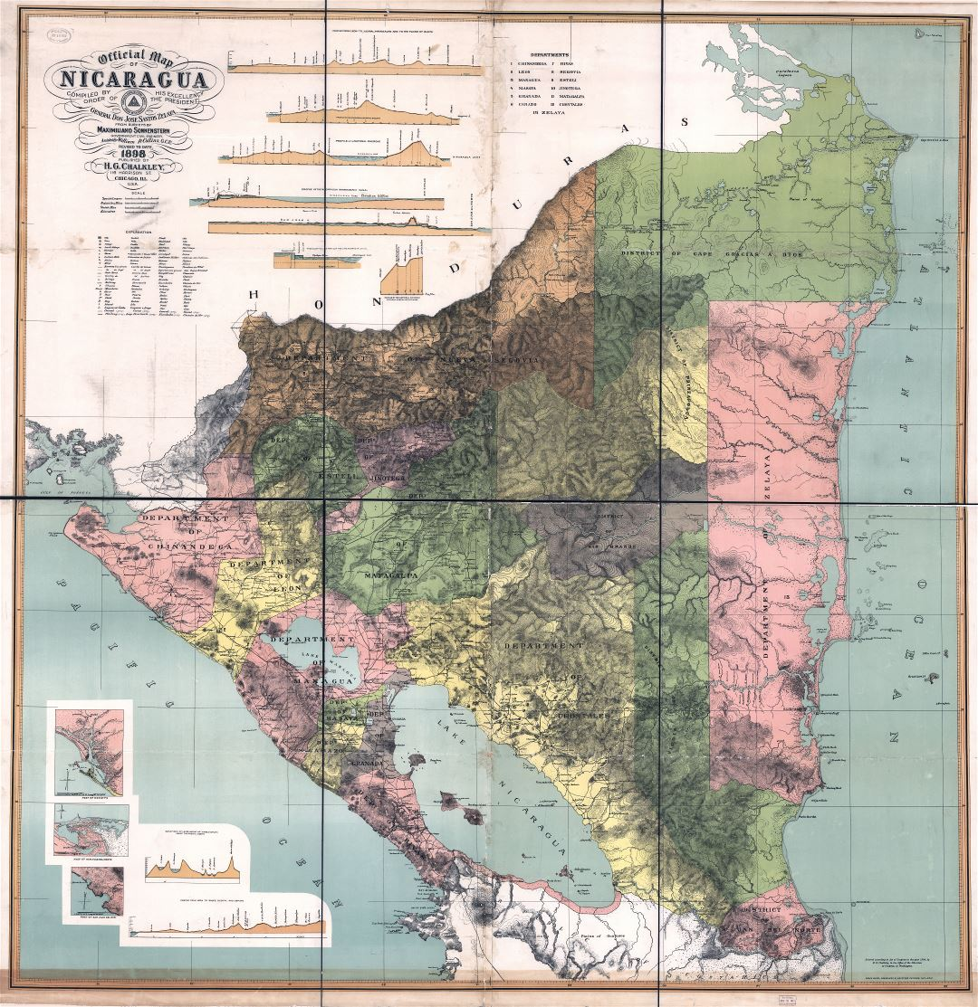 Large Scale Detailed Old Map Of Nicaragua With Relief And Administrative Divisions