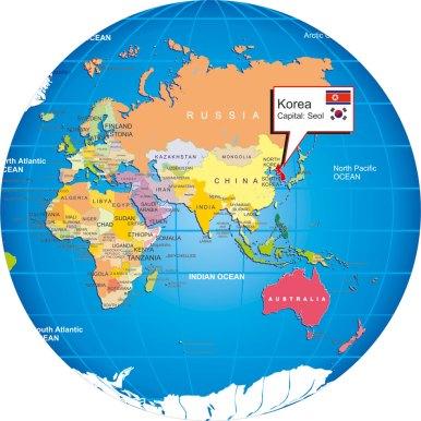 Where is Korea? on world globe