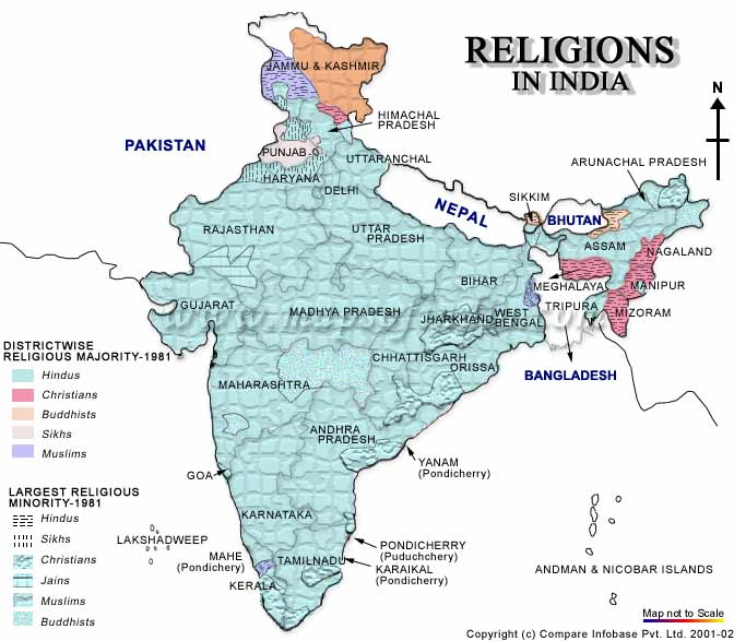Religion Map of India