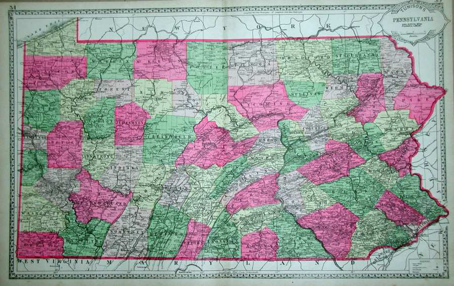 1880 s Pennsylvania Maps 1886 TUNISON S PENNSYLVANIA  pages 54  55 from a Tunison s Atlas circa  1886  this map is undated but has 1880 census data  It has the brilliant  color