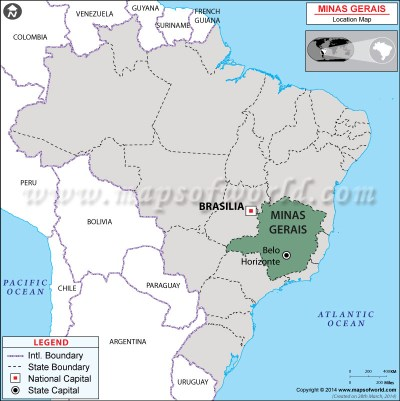 Where is Minas Gerais Located in Brazil Map