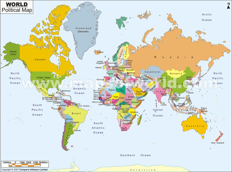 Printable world map picture with countries - Tri County Labeled World Map