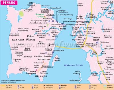 Penang Map   Map of Penang City, Malaysia