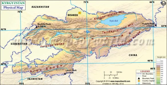 large detailed physical of kyrgyzstan map » [HD Images] Wallpaper ...