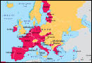 Map of Euro currency countries
