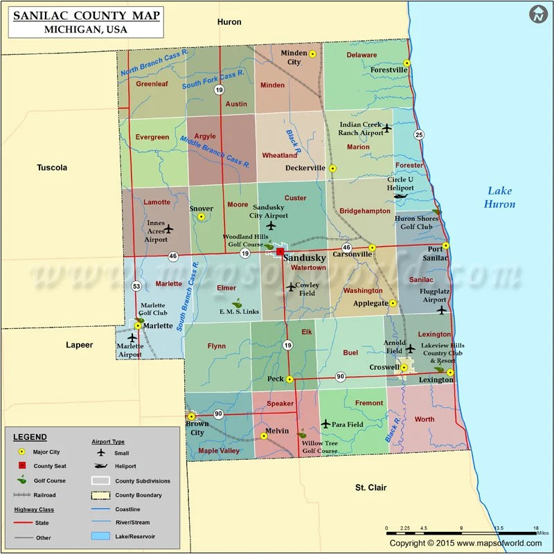 Sanilac County Map Michigan