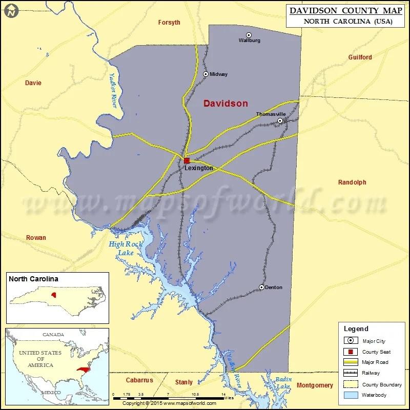 County North Map Carolina Alamance
