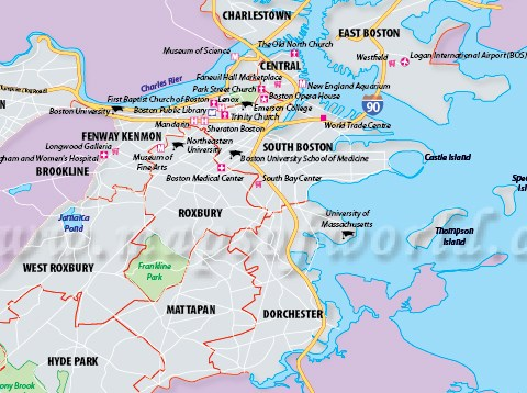 HD Decor Images » Boston City Map  Map of Boston City MA  Capital of Massachusetts Description  Boston Map showing the major roads  highways  hotels   hospitals in Boston City in Massachusetts state of the USA