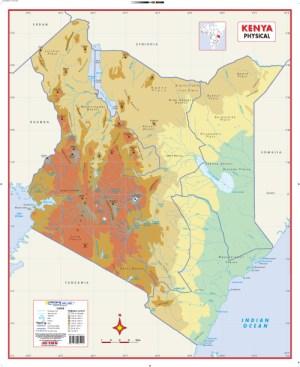 Kenya Physical Wall Map