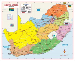 South Africa Political Wall Map