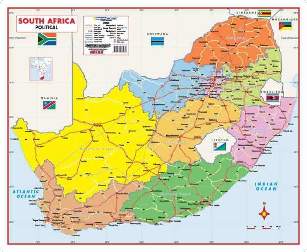 South Africa Political Wall Map Mapstudio