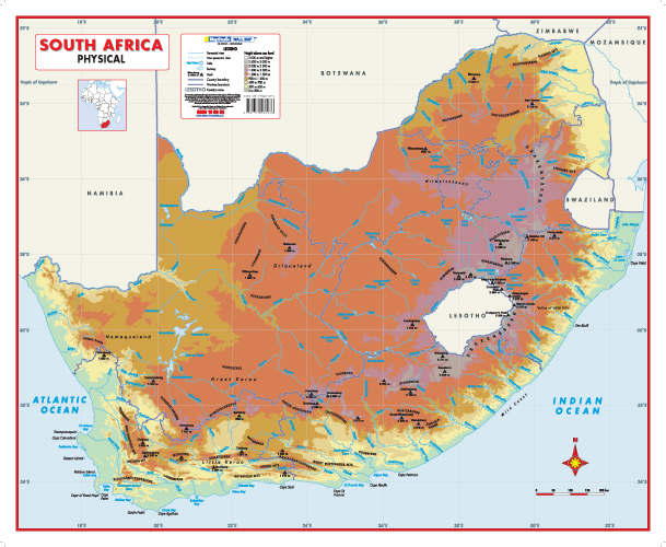 Map Of Africa Physical.South Africa Physical Educational Wall Map Mapstudio