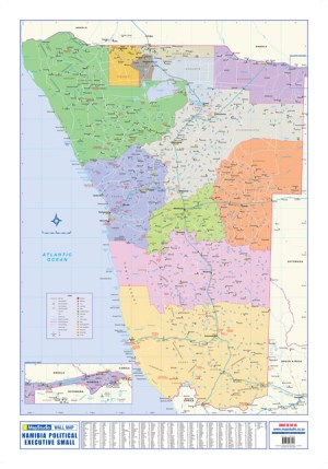 Namibia Political Executive Small Wall Map