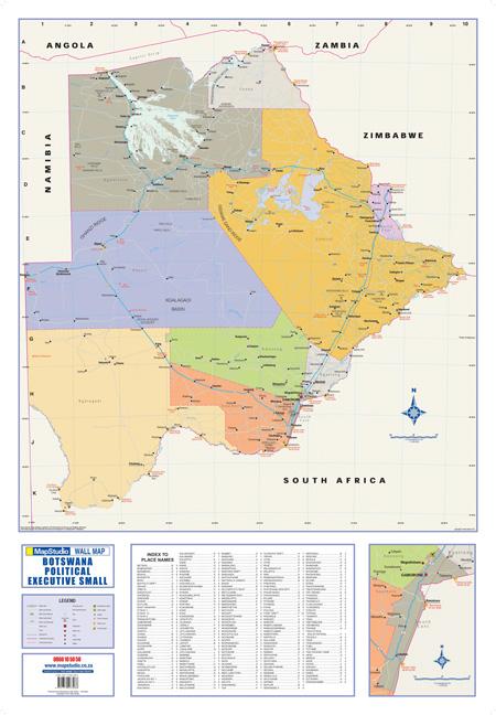 Botswana Political Map.Botswana Political Executive Small Wall Map