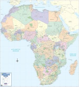 Africa Executive Political Wall Map