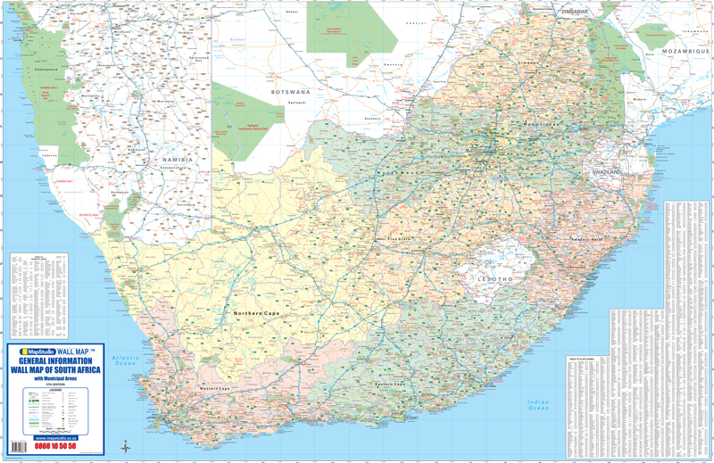 General Information Wall Map South Africa MapStudio - South africa map