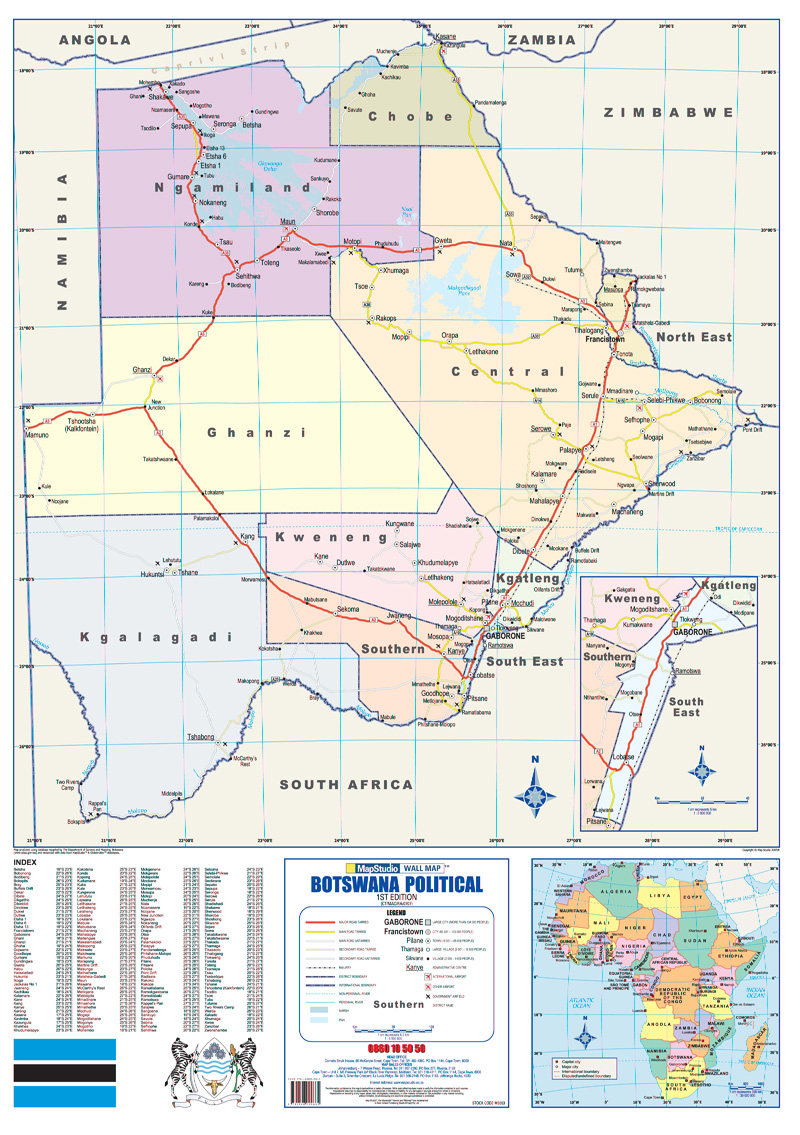 Botswana Political Wall Map MapStudio