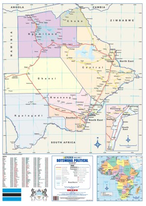 Botswana Political Wall Map