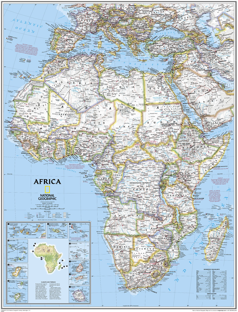 Map Of Africa Bodies Of Water.Africa Political Wall Map National Geographic