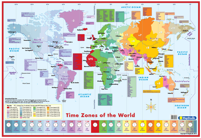 Time Zones World Educational Poster Mapstudio