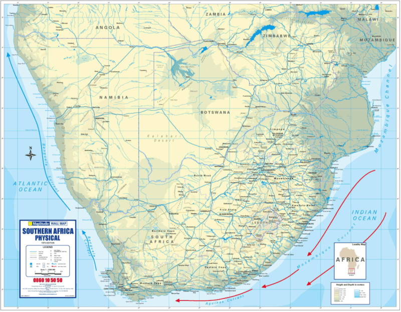 Southern Africa Physical Wall Map - Active Learning -- MapStudio