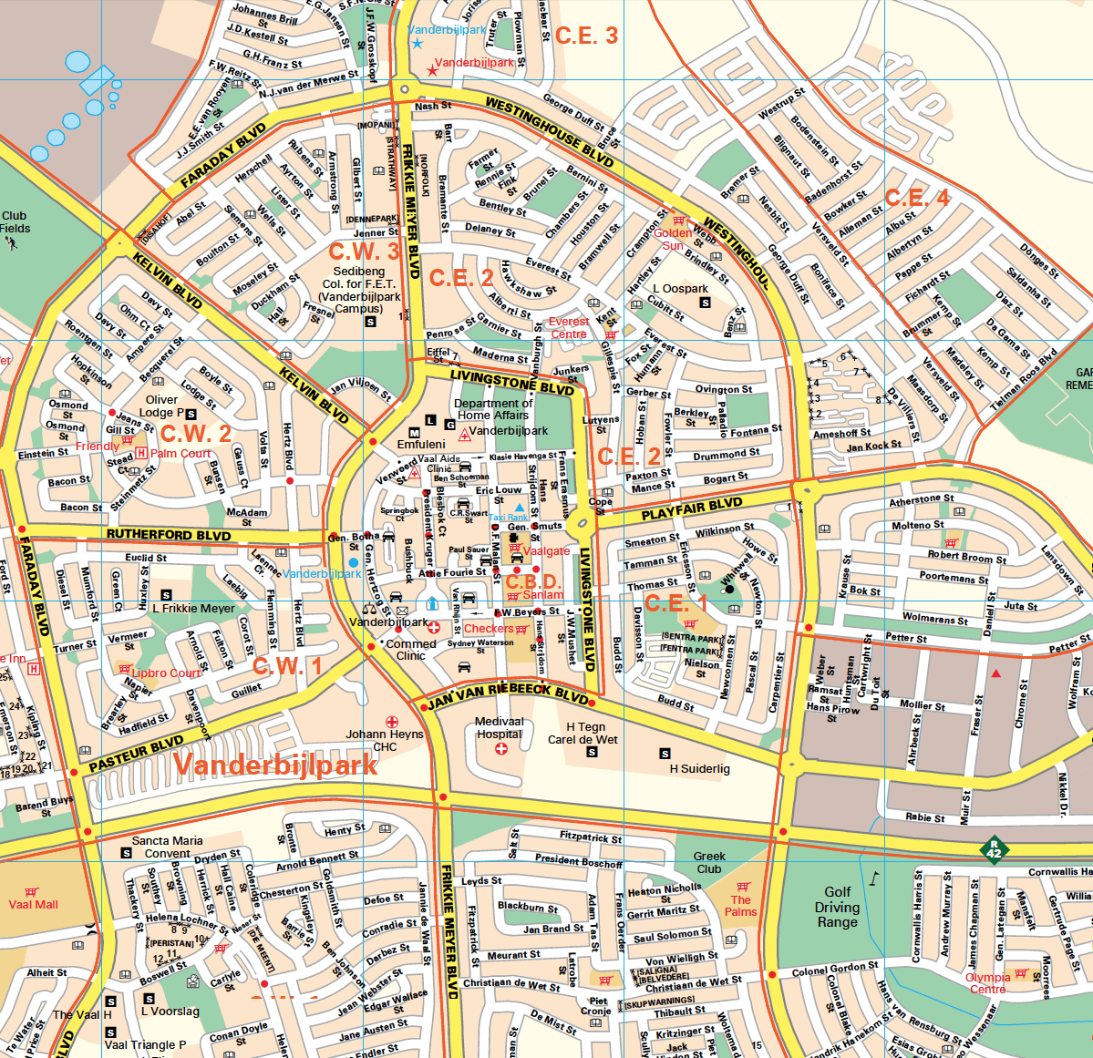 The Vaal Triangle Wall Map with freeways, national roads and suburbs