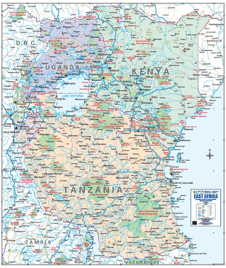 east africa wall map. east africa wall map  tanzania kenya uganda rwanda  burundi