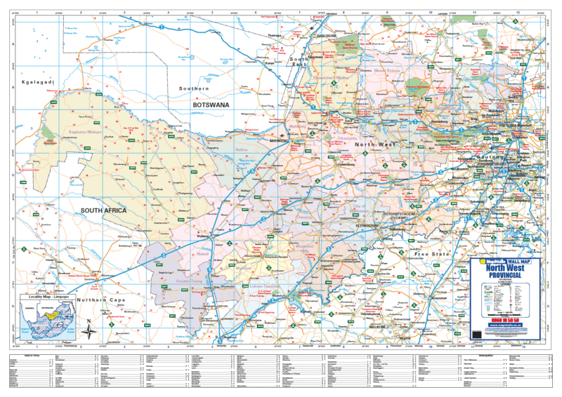 North West Provincial Wall Map R1500.00