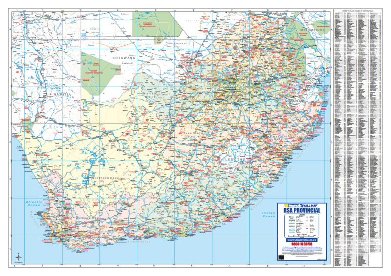 map of south africa roads South Africa Provincial Wall Map map of south africa roads