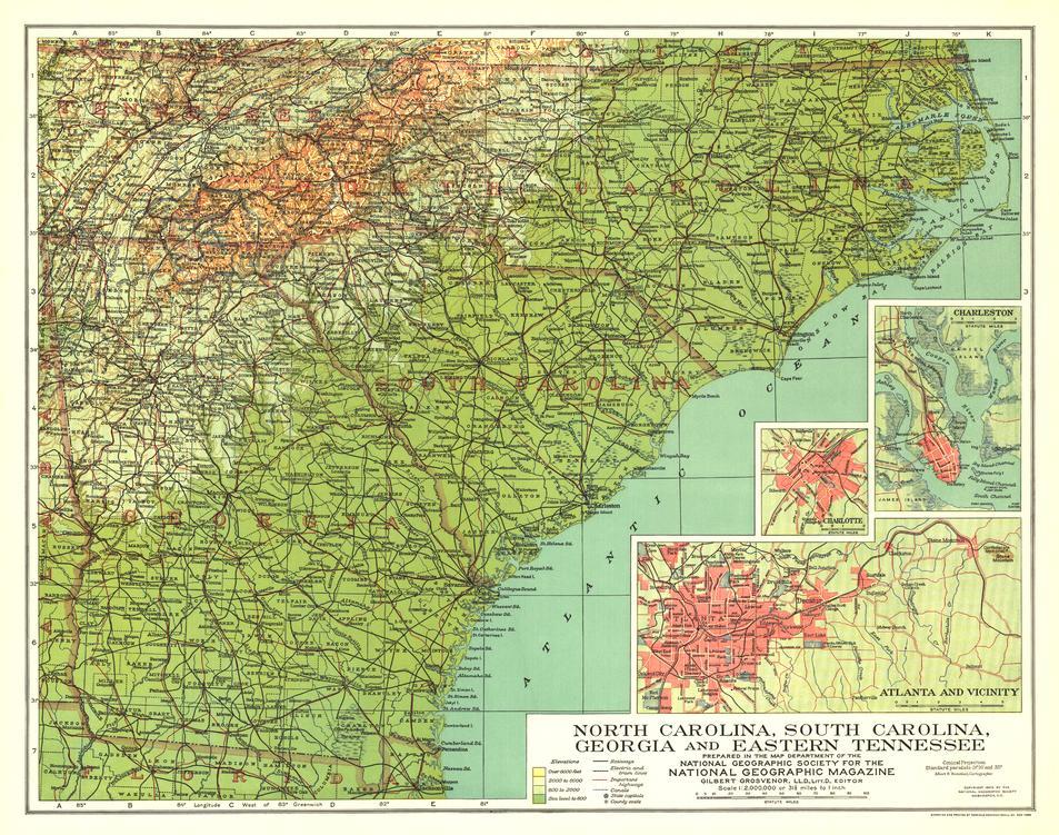 North Carolina South Carolina Georgia Tennessee Map
