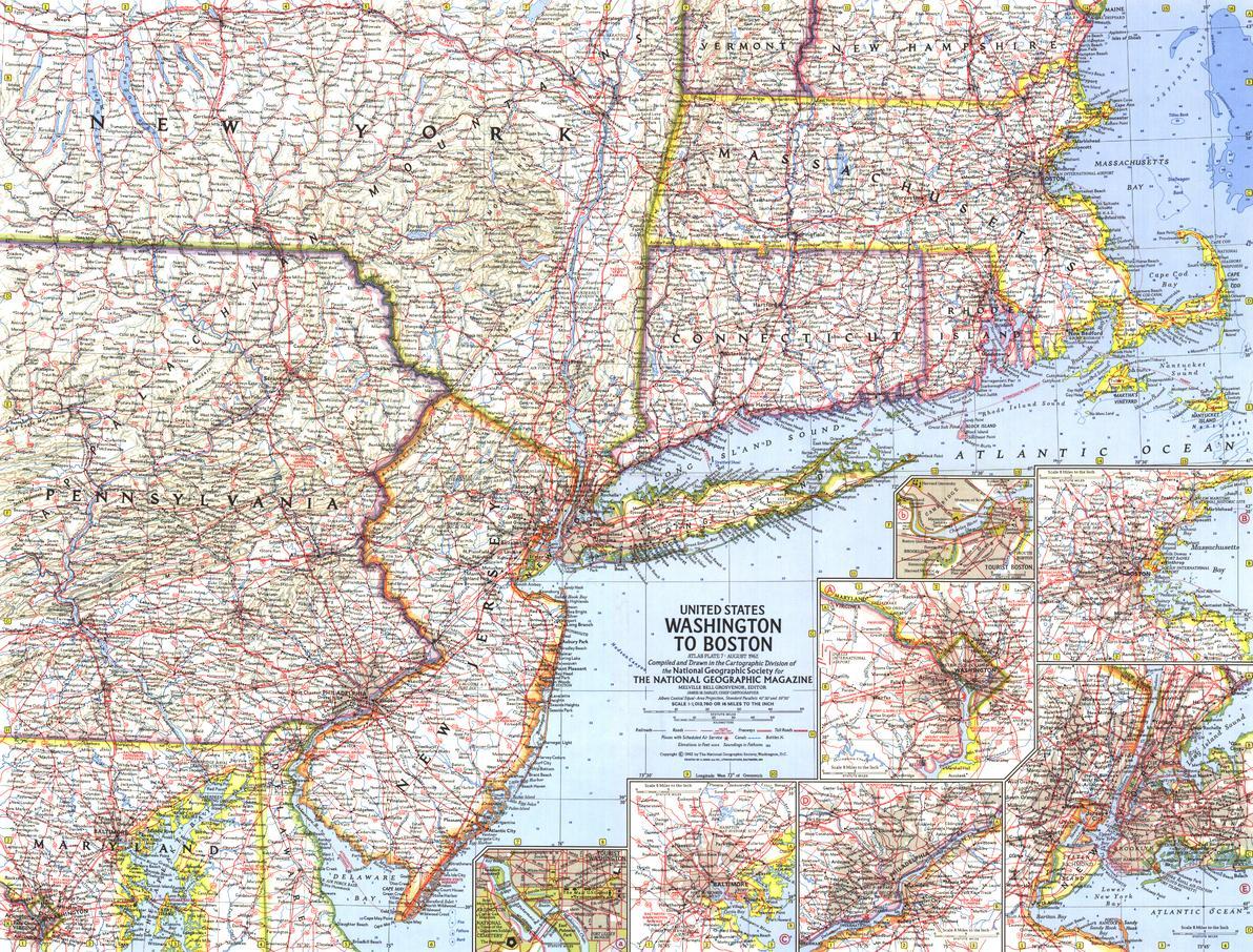 United States Washington To Boston Map