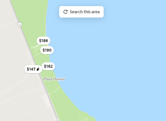 Airbnb - Search this Area button