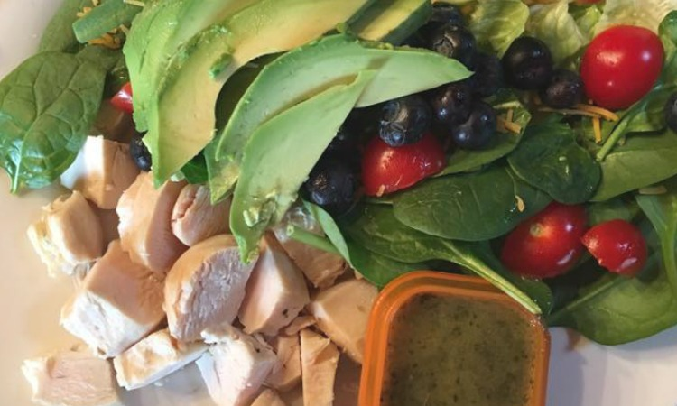 Healthy clean eating portion control avocado chicken salad